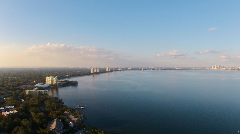 Aerial of the water in Tampa